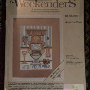 """Weekenders Cross Stitch Kit """"Be Seated"""" New"""